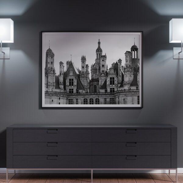 Affiche déco noir et blanc château patrimoine français