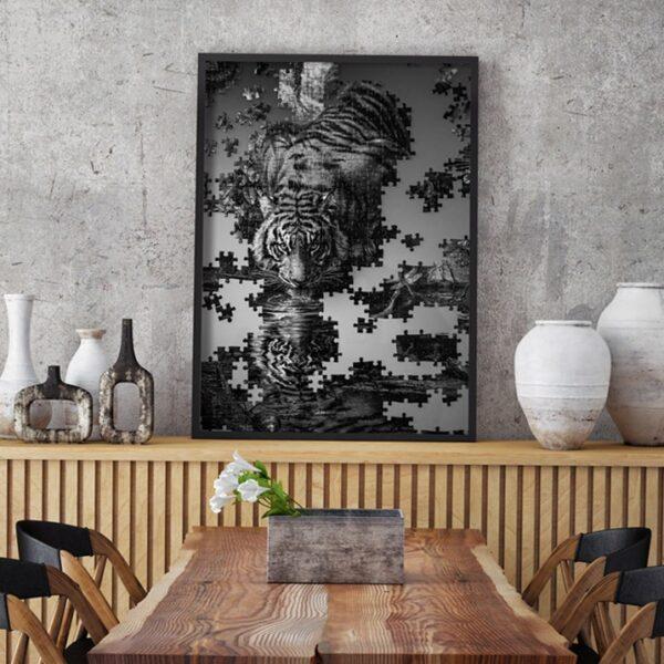 Affiche photographie puzzle tigre jungle noir et blanc