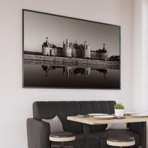 Photographie du chateau de Loire, chambord, loir-et-cher, affiche déco noir et blanc