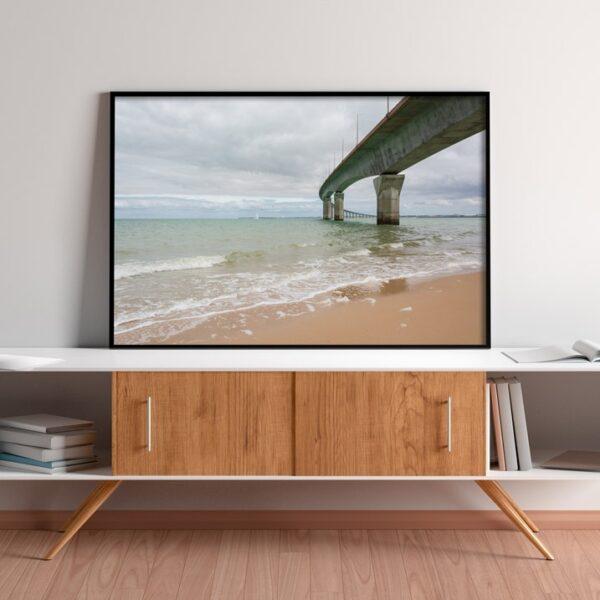 Poster pont, mer, océan, ile de ré, photo couleur