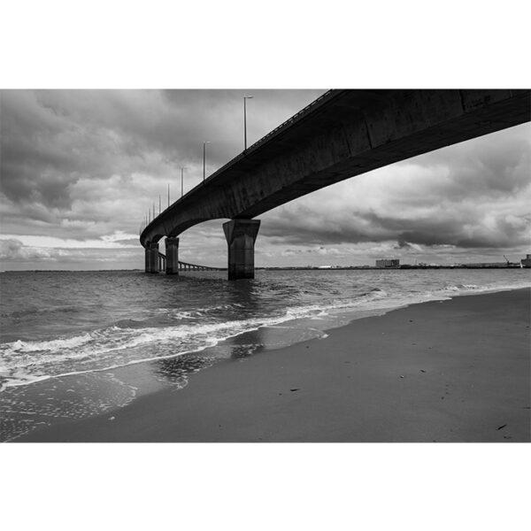 Poster pont, mer, océan, ile de ré, noir et blanc