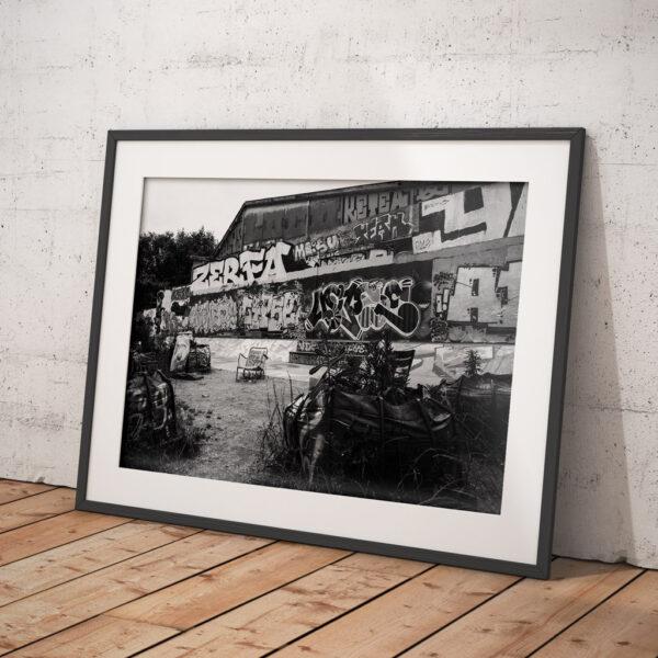 Affiche street art, photographie Nantes, graph et tag, noir et blanc