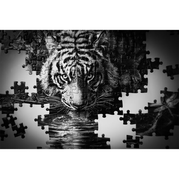 poster Puzzle Tigre n&b